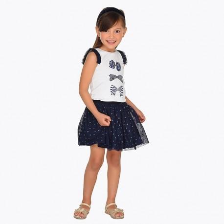 Mayoral 3902-70 Spódnica tiul w groszki dziecięca Granat