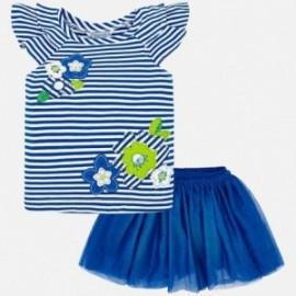 Mayoral 3960-48 Komplet bluzka i spódnica dziewczęcy Niebieski