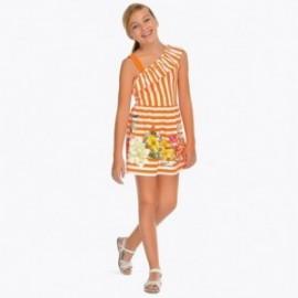 Mayoral 6948-78 Sukienka w paski dziewczęca Pomarańcz