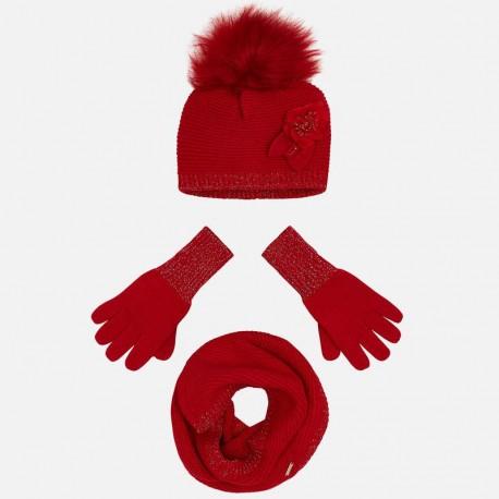 Komplet czapka komin rękawiczki dla dziewczynki Mayoral 10699-28 Czerwony