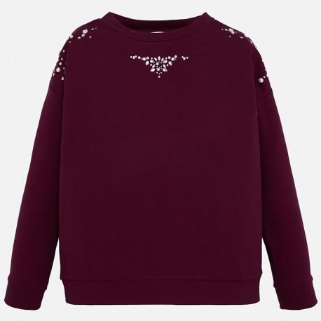 Bluza bawełniana z perełkami dziewczęca Mayoral 7403-43 Rubin