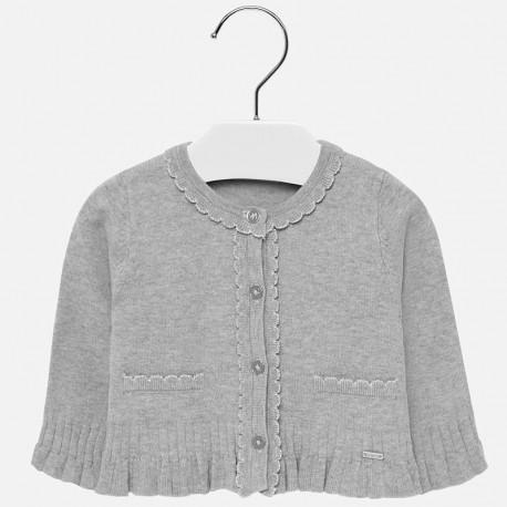 Sweter rozpinany dzianinowy z falbankami dla dziewczynki Mayoral 2315-34 Srebrny