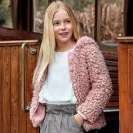 Płaszcz futerko z kapturem dziewczęca Mayoral 7416-30 Kwarc