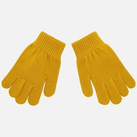 Rękawiczki z pięcioma palcami gładkie dla chłopca Mayoral 10687-43 Karmel