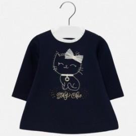Sukienka swetrowa z tiulem ciepła dla dziewczynki Mayoral 2923-49 Granatowy