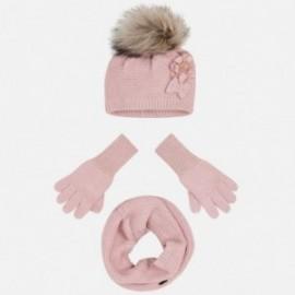 Komplet czapka komin rękawiczki dla dziewczynki Mayoral 10699-30 Nude