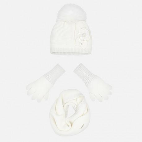 Komplet czapka komin rękawiczki dla dziewczynki Mayoral 10699-32 Kremowy