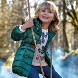 Kurtka na zimę długa z paskiem dla dziewczynki Mayoral 4420-81 Butelkowy