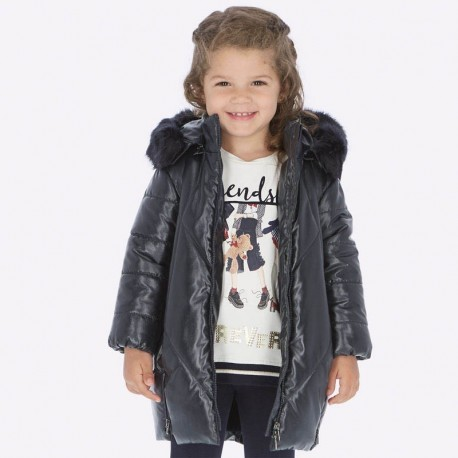 Kurtka zimowa błyszcząca długa dla dziewczynki Mayoral 4417-15 Granatowy