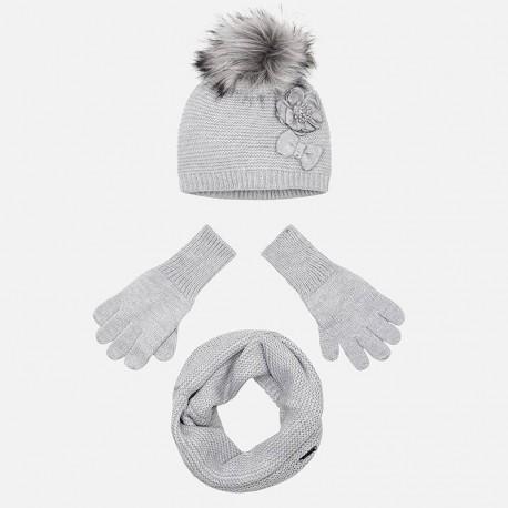Komplet czapka komin rękawiczki dla dziewczynki Mayoral 10699-31 Srebrny