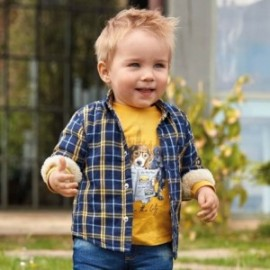 Koszula z podszewką w kratę chłopięca Mayoral 2110-3 Niebieski