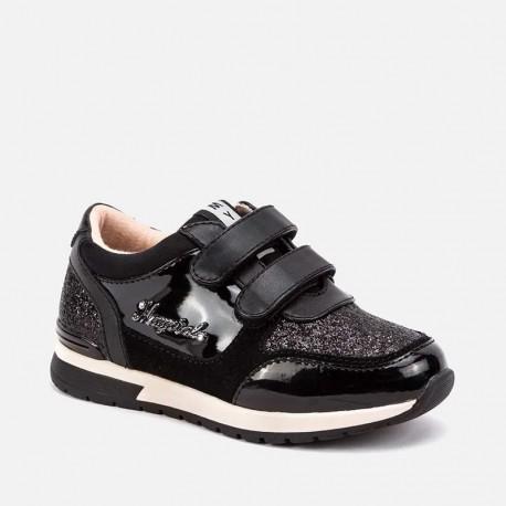 Buty running sneakersy na rzepy dla dziewczynki Mayoral 46057-43 Czarny