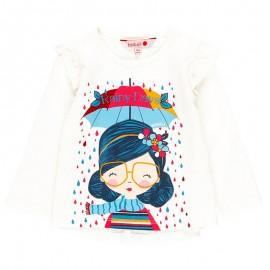 Bawełniana koszulka dla dziewczynki Boboli 218012-1111 krem