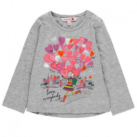 Bawełniana koszulka dla dziewczynki Boboli 238047-8034 szary