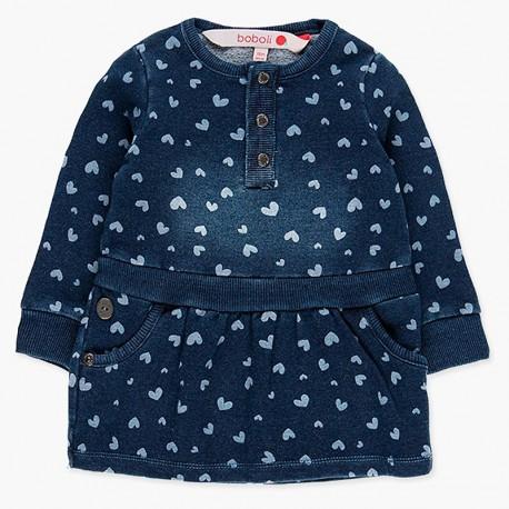 Denimowa sukienka z bawełny dla dziewczynki Boboli 238069-9201 niebieski