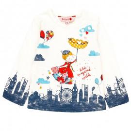 Koszulka z długim rękawem dla dziewczynki Boboli 248105-1111 krem