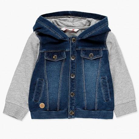 Kurtka jeans i bawełna z kapturem dla chłopca Boboli 338105-BLUE granat