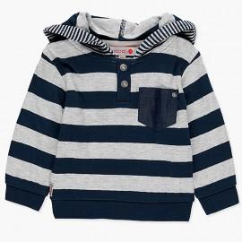 Bluza dawełniana z kapturem w paski dla chłopca Boboli 348106-9183 szary