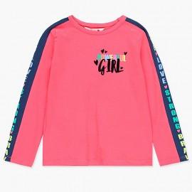 Koszulka bawełniana z lampasami dla dziewczynki Boboli 408002-3628-M koral