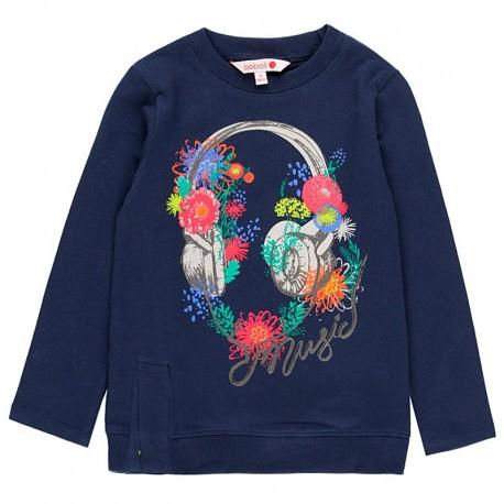 Bawełniana koszulka dla dziewczynki Boboli 408068-2440-M granat