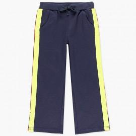 Bawełniane spodnie dresowe z lampasami dla dziewczynki Boboli 408125-2440-M granat