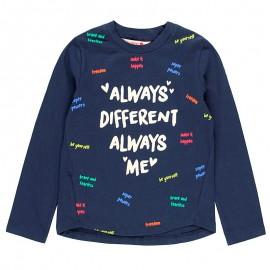 Elastyczna dzianinowa koszulka dla dziewczynki Boboli 408136-2440-S granat