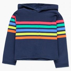 Bawełniana bluza z kapturem dla dziewczynki Boboli 408147-2440-S granat