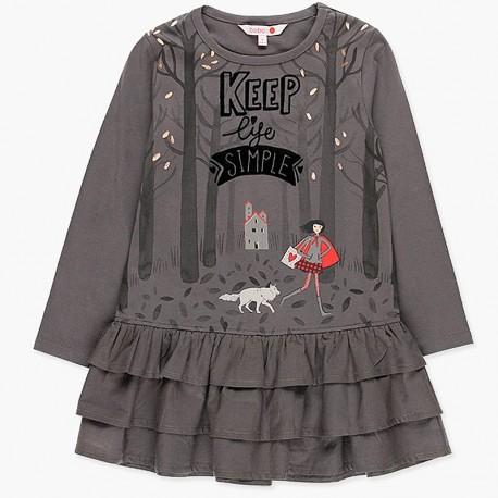 Sukienka bawełniana z falbankami dla dziewczynki Boboli 418104-8076-S szary