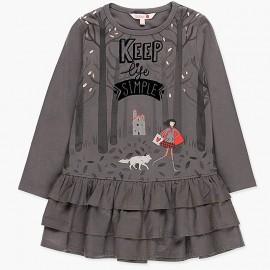 Sukienka bawełniana z falbankami dla dziewczynki Boboli 418104-8076-M szary