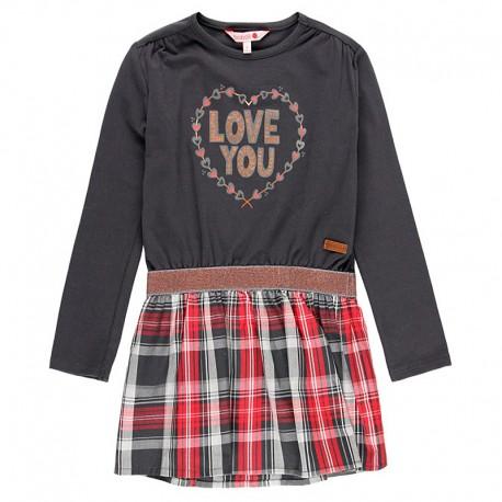 Sukienka łączona dla dziewczynki Boboli 418205-8076-S brąz