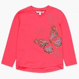 Bawełniana koszulka z cekinami dla dziewczynki Boboli 428004-3628-M fuksja