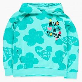 Bluza kangurka z kapturem dla dziewczynki Boboli 428194-4476-M turkus