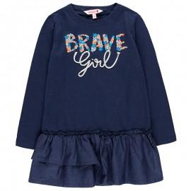 Bawełniana sukienka na codzień dla dziewczynki Boboli 458096-2440-S granat