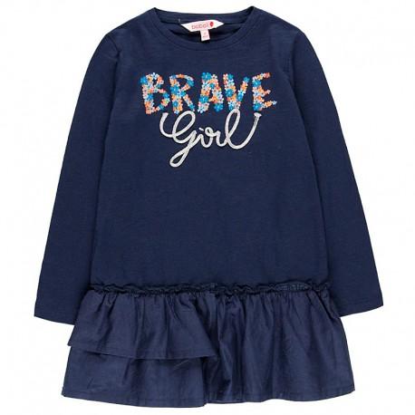 Bawełniana sukienka na codzień dla dziewczynki Boboli 458096-2440-M granat
