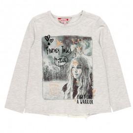 Koszulka z długim rękawem dla dziewczynki Boboli 468031-7299-S szary