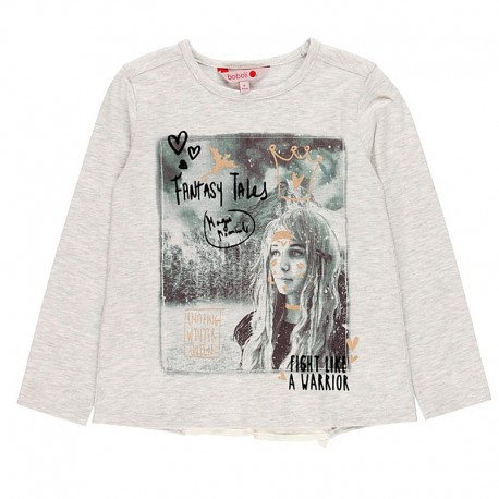 Koszulka z długim rękawem dla dziewczynki Boboli 468031-7299-M szary