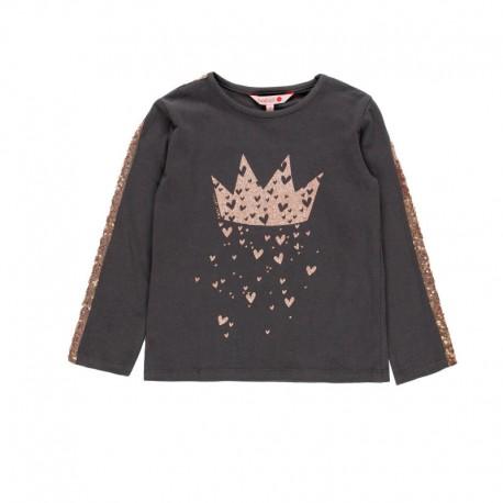 Bawełniana bluzka z cekinami dla dziewczynki Boboli 468097-8076-S brąz