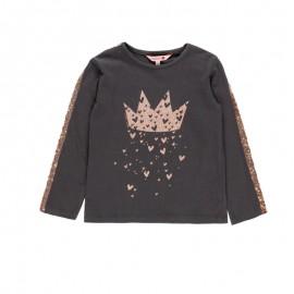 Bawełniana bluzka z cekinami dla dziewczynki Boboli 468097-8076-M brąz