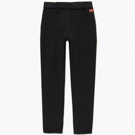 Elastyczne spodnie bawełniane dla dziewczynki Boboli 498023-890-S czarny