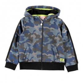Bawełniana kurtka z kapturem moro dla chłopca Boboli 518206-9169-S granat