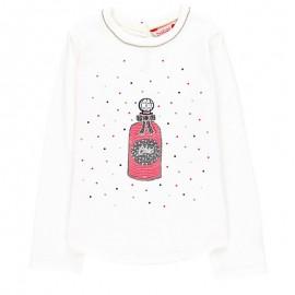 Bawełniana koszulka dla dziewczynki Boboli 728580-1111 krem