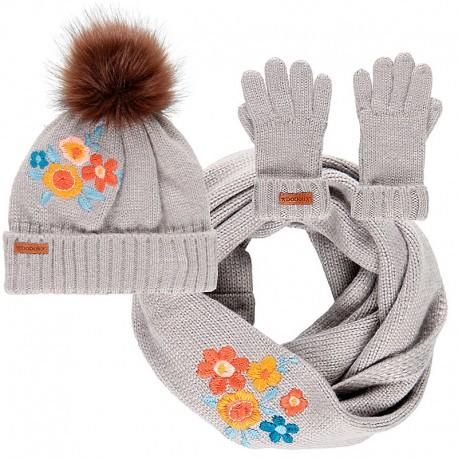 Czapka komin rękawiczki dla dziewczynki Boboli 458209-8089 szary