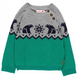 Sweter z dzianiny dla chłopca Boboli 718219-4477 zielony