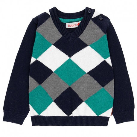 Sweter w serek w romby dla chłopca Boboli 718231-2440 granat