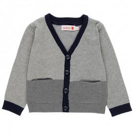 Rozpinany sweter z łatami elegancki dla chłopca Boboli 718242-8105 szary