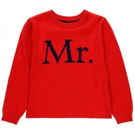 Sweter z łatami pod szyję dla chłopca Boboli 738031-3641-S czerwony