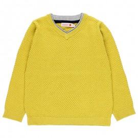 Sweter w serek z łatami chłopięcy Boboli 738255-4479-S miodowy