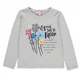 Bluzka bawełniana dla dziewczynki Boboli 458030-8089-S szary