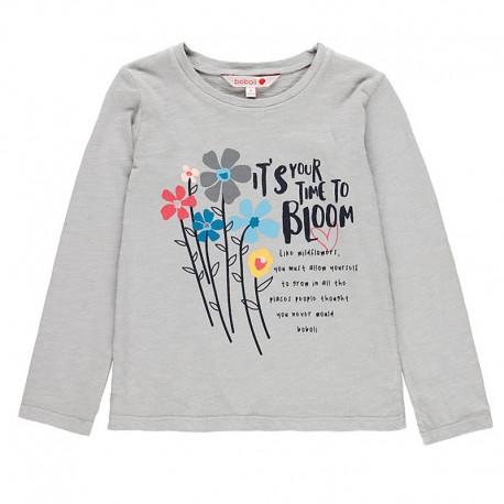 Bluzka bawełniana dla dziewczynki Boboli 458030-8089-M szary