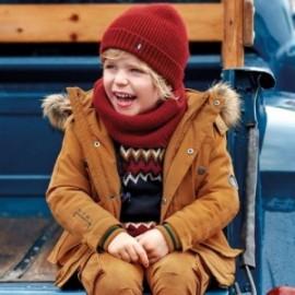 Kurtka z futerkiem i kapturem dla chłopca Mayoral 4444-68 Karmel